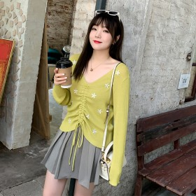 圆领针织衫纯色春季新款大码女装胖mmV领宽松打底衫
