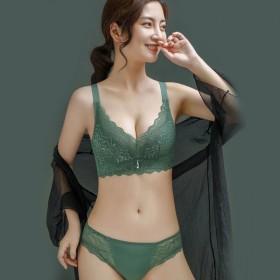 内衣薄款无钢圈小胸聚拢调整型收副乳蕾丝乳胶文胸套装