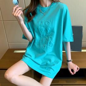夏季2021年新款短袖t恤女中长款宽松纯棉体恤纯色