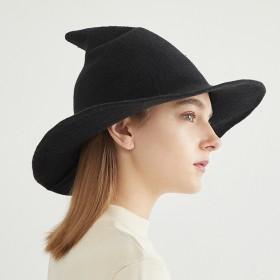 羊毛纯色渔夫帽女早春小香ins风小众白色宽檐遮阳帽