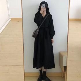 灯芯绒连衣裙春秋季少女收腰中长款V领显瘦2021