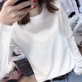 春秋打底衫女时尚百搭上衣t恤圆领长袖秋冬季纯棉白色