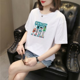 纯棉宽印花短袖t恤女白色2021年新款流行早春打底