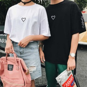 女装t恤女短袖夏季情侣装刺绣爱心半袖衣服女T恤