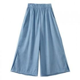 七分裤 阔腿裤 开叉牛仔裤