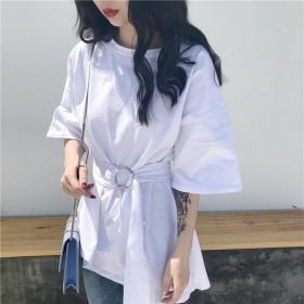 打底衫Tt恤女韩版2021年新款春装宽松中长款纯色
