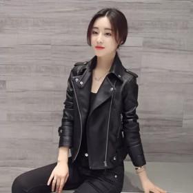 皮衣外套女2021新款春秋短装修身韩版