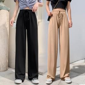 冰丝阔腿裤女夏九分2020新款宽松高腰垂感拖地长裤