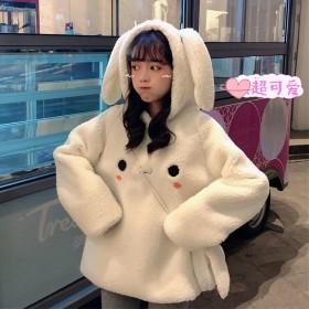 秋冬季仿羊羔毛绒卫衣女韩版