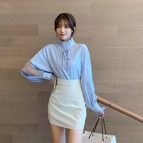 女装2021新款春季 韩版半高领纯色长袖衬衫纯色蕾