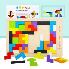 木制俄罗斯方块拼图记忆训练7七巧板积木益智板乐高
