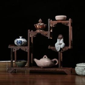 鸡翅木博古架中式小多宝阁茶具架子实木置物架茶壶架摆