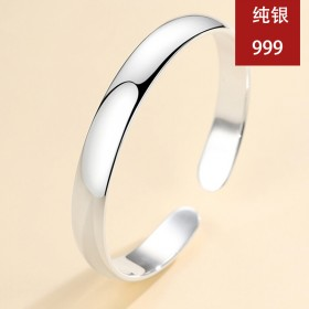 S999银手镯女光面首饰品礼物