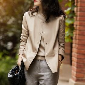 气质超柔软无涂层皮衣2021秋季韩版新款纯色外套仿