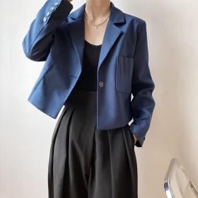 2021新品设计感港味小个子时尚短款小西装外套女装