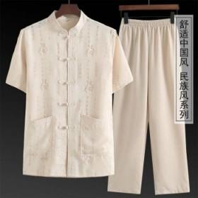 唐装男短袖休闲套装夏装中老年爸爸装中国风男装