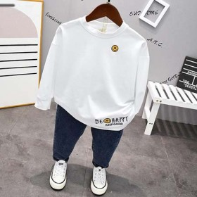 男童白色t恤长袖圆领小童春装2021新款纯色两件套