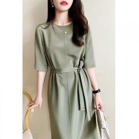纯色雪纺连衣裙女装20201夏季新款圆领中袖时尚简