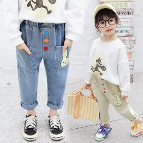 女童牛仔裤春秋新款儿童休闲裤子宝宝宽松长裤小女孩外