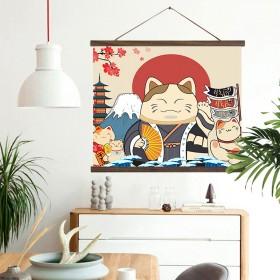 财猫电表箱装饰画遮挡箱电闸北欧卷轴挂画麋鹿布艺壁画