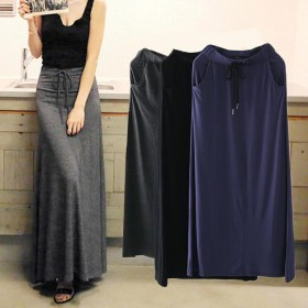 高腰莫代尔大摆裙及踝半身裙女夏薄款黑色A字打底裙显