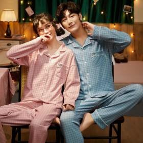 春秋季新款情侣棉质长袖翻领男女士休闲家居服套装