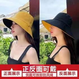 遮阳帽女防晒渔夫帽春夏韩版潮日系双面大帽檐防紫外线