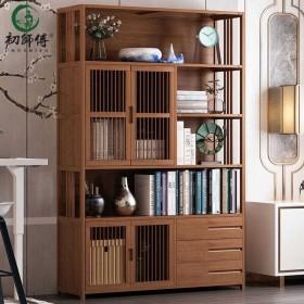 知竹家书柜简约落地楠竹置物架简易组合实木古典书架家