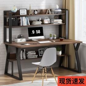 书桌书架组合电脑台式桌现代简约卧室学生简易桌子一体