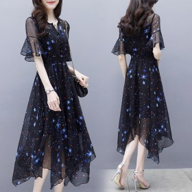 夏季2021女装新款修身中长裙喇叭袖不规则气质名媛