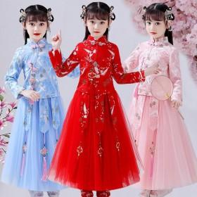 汉服女童春季套装仙女连衣裙中国风儿童古装夏秋公主