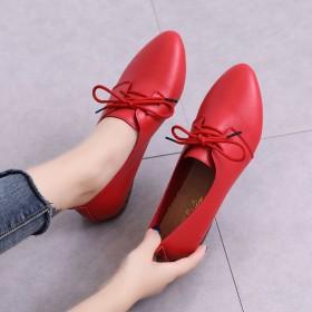 小皮鞋系带牛筋底软底女鞋新款尖头秋季单鞋