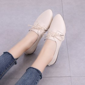 小皮鞋系带牛筋底软底女鞋新款尖头