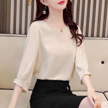 雪纺衬衫女2021夏装新款短袖超仙圆领上衣韩版七分