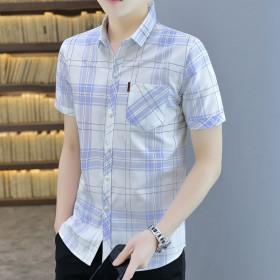 免烫抗皱短袖衬衫修身衬衣男韩版商务休闲正装衬衫