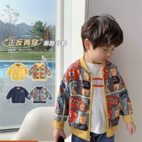 男童外套春秋款宝宝夹克两面穿童装小童春装儿童棒球服