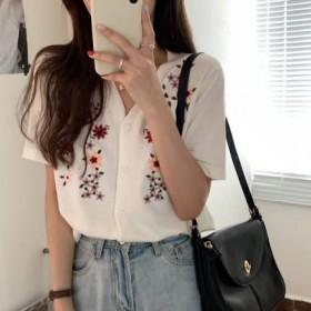 花朵刺绣短袖针织开衫1件
