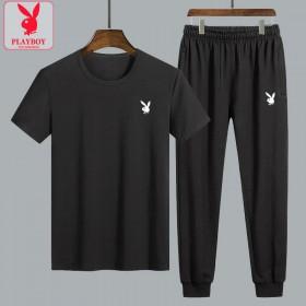 花花公子套装短袖T恤男裤子夏薄款韩版休闲运动两件套