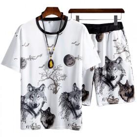 夏季休闲套装短袖短裤套装青年运动套装男装两件套