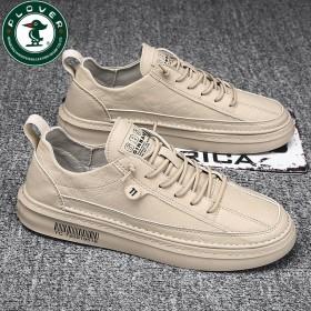 PLOVER啄木鸟男鞋韩版运动鞋皮面皮鞋休闲鞋板鞋
