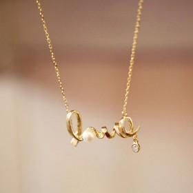 LOVE字母镶钻个性颈链锁骨链女s999