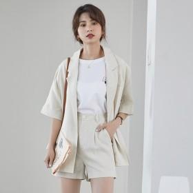短袖西服麻棉小西装外套短裤两件套装