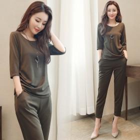 胖mm夏装新款时尚大码女装两件套韩版五分袖T恤哈伦