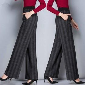 坠感高腰直筒阔腿裤宽松显瘦休闲裤中老年女裤长裤