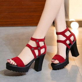 罗马凉鞋夏季新款高跟鞋露趾粗跟防水台女鞋韩版凉鞋