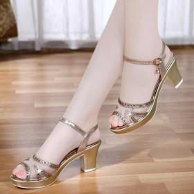 女鞋夏季凉鞋中跟韩版新款高跟鞋粗跟防水台鱼嘴鞋