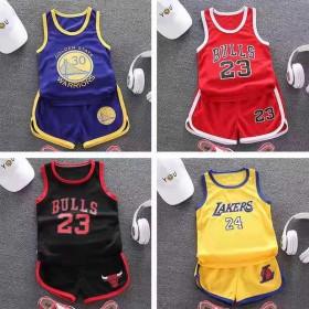 夏季男童背心无袖短裤套装儿童篮球服女童运动服两件套