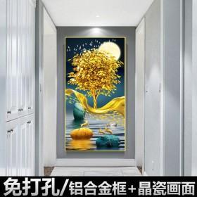 客厅装饰画入户玄关竖版晶瓷画墙壁画挂画走廊过道新中