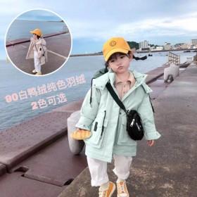 儿童韩版冬季连帽羽绒服派克服儿童中长款纯色宝宝外套