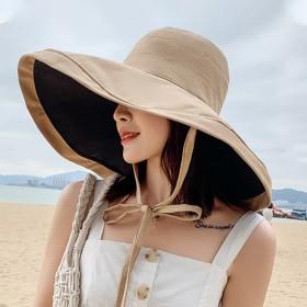 帽子女户外大檐遮阳帽渔夫帽双面可戴